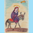Marie with Jesus on Donkey